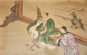 孔子の生涯を描いた江戸時代の図絵。笙を演奏する孔子の様子が美しい彩色で描かれている