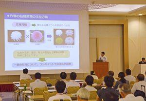 シンクロトロン光を利用した品種開発について発表する県農業試験研究センターの担当者=佐賀市のグランデはがくれ