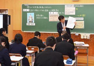 幕末佐賀藩は「先進的」 本紙記者、牛津中で出前授業
