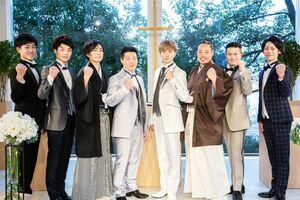 ファイナリストの8人。右から2人目がグランプリの下平さん=武雄市の武雄温泉森のリゾートホテル