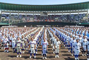 開会式で整列する選手たち=佐賀市のみどりの森県営球場