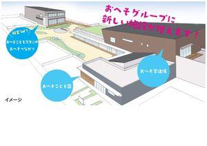 児童発達支援施設と企業主導型保育所が入った施設のイメージ(左上)。おへそこども園の園庭を共有する形で新設される
