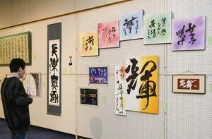 集大成となる卒業生たちの作品をじっくりと鑑賞する来場者=佐賀市文化会館