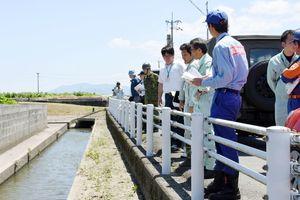 昨年の大雨で水があふれた水路をチェックする参加者=上峰町前牟田