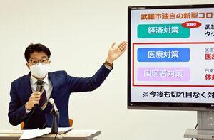 新型コロナウイルス感染症対策として医療対策と困窮者対策を発表する小松市長=武雄市役所