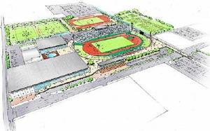 「県総合運動場等整備基本計画」の素案で示された整備イメージ。左下がアリーナ