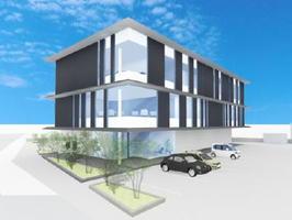 伊万里市立花町に建設されるビジネス支援オフィスの完成予想図(class、松澤建築設計事務所提供)