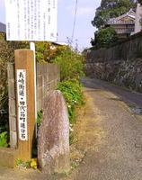 長崎街道田代宿の北口、田代昌町にある道標の「追分石」。右の小道が彦山道=鳥栖市