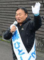 安倍政権ストップを訴え、支援を呼び掛ける大森候補=鹿島市山浦