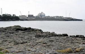 串地区(手前)から海を隔てて見える九州電力玄海原発=唐津市鎮西町