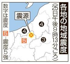 長野北部で震度5強