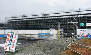 九州新幹線長崎ルートの暫定開業に向けて工事が進む嬉野温泉駅(仮称)=嬉野市嬉野町