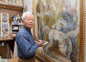 画業とともに、後進の育成でも評価を受けている金子剛さん=佐賀市の自宅
