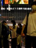 東京・渋谷の大型ビジョンに流れる、新型コロナウイルスの新規感染者が各地で過去最多となったことを伝えるニュース=8日午後