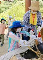 茶葉を炒る参加者=神埼市脊振町の高取山公園