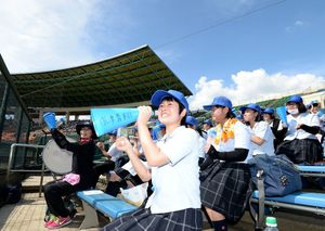 全国高校野球佐賀大会の開幕戦で、暑さに負けず声援をおくる唐津青翔高の生徒=みどりの森県営球場