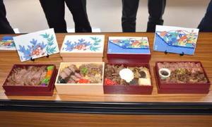 上質な伊万里牛を使った陶彩縁起弁当の「松」弁当の試作品