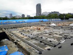 広島市のサッカースタジアム建設予定地で発掘された旧日本陸軍の輸送部隊「中国軍管区輜重兵補充隊」の施設遺構=15日(同市提供)