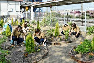 駅前の花壇を整備する参加者=鳥栖市のJR田代駅