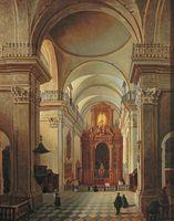 マルチン・ザレスキ《ワルシャワ、聖十字架教会の祭壇—主身廊からの眺め》(19世紀中頃、油彩・カンヴァス、国立ワルシャワ博物館)