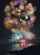 秋の夜空、大輪彩る 10万人歓声 伊万里湾大花火