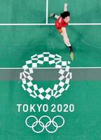 女子シングルス1次リーグ パキスタン選手と対戦する山口茜=武蔵野の森総合スポーツプラザ