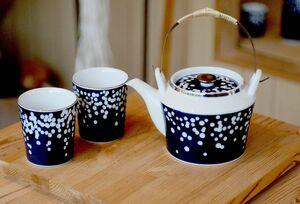 水玉模様を散りばめたフリーカップと土瓶。土瓶は茶こしが付いており、金網も使える。今年の「佐賀県陶磁器工業協同組合賞」を受賞した。