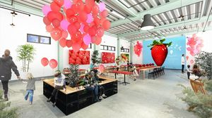 「いちごさん」の世界観を再現したグランピングカフェのイメージ(県提供)