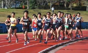 昨年の伊万里・西松浦地区予選会で力走する選手たち=伊万里市の国見台陸上競技場