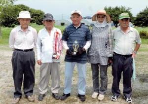 グラウンドゴルフ 兵庫老人クラブ東部二GG愛好会例会の上位入賞者