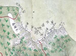岸岳城跡(鬼子岳城跡)が描き込まれた唐津之図の一部分(武雄市図書館・歴史資料館提供)