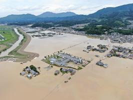 前日までの激しい雨で浸水した順天堂病院周辺。2019年8月29日、佐賀県杵島郡大町町
