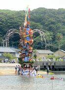 巨大山笠海渡る 小友祇園祭きょうまで