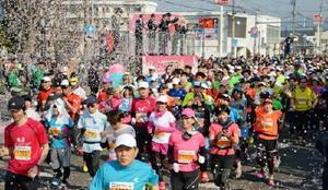 桜色の紙吹雪が舞う中、一斉にスタートする1万人のランナー=3月19日、佐賀市の県総合運動場前
