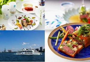「伊万里フェア」メニューの一例と、博多湾レストランシップ「マリエラ」