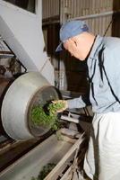 茶葉の炒り具合を確かめる生産農家。栽培時の負担低減が図れるため、生産に力を入れる農家も増えている=嬉野市の牛の岳モデル製茶工場