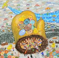 ウクライナのマリウポリ市に描く予定の絵。極寒の地で、手袋の中でさまざまな民族衣装を着た人々が互いに温め合う姿を表現する