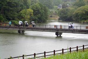 """文学碑や史跡を巡る""""文学散歩""""を楽しむ生徒たち=29日、唐津市の鏡山"""