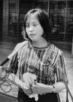 厚生省前での抗議行動に参加した石牟礼道子さん=1970年5月