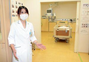 新型コロナウイルスに感染した重症者が入院した個室。空気が室外に漏れないよう、気圧が低くなる機能がある=佐賀市嘉瀬町の佐賀県医療センター好生館