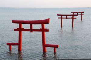 満潮時の大魚神社の海中鳥居=藤津郡太良町