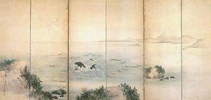 「小川島捕鯨図屏風」右隻(江戸時代後期、森一鳳作、縦117・7センチ)