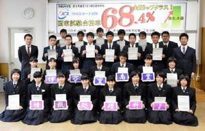 ITパスポート試験に26人が合格した伊万里商業高校情報処理科3年生=伊万里市