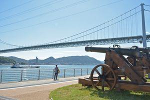 4カ国連合艦隊に長州軍が応戦した壇ノ浦砲台跡。現在は大砲のレプリカが設置されている=山口県下関市