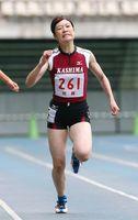 女子400メートル決勝 55秒78で優勝した「鹿島」の今村莉花=大分市の大分銀行ドーム(亀山泰人さん撮影)