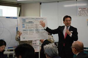 6日に立ち上げた新組織「プロジェクトM」について説明する山口祥義知事=県庁