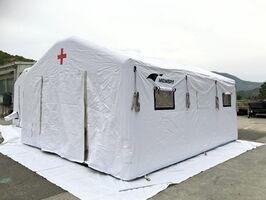 山口産業が開発した医療用テント(提供)