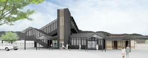 既存駅舎の高い天井を意識した造りで開放感があるデザイン案①