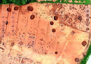 八ッ並金丸遺跡の柱穴群。右端に大型建物、丸い線は柱穴群