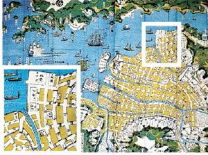 長崎土産の「肥前長崎図」。「ゑびす町」の通りに「タケヲ」と記されている。また、海に面した一角に「肥前サガ」、さらに「タク」「カラツ」の屋敷も描かれている